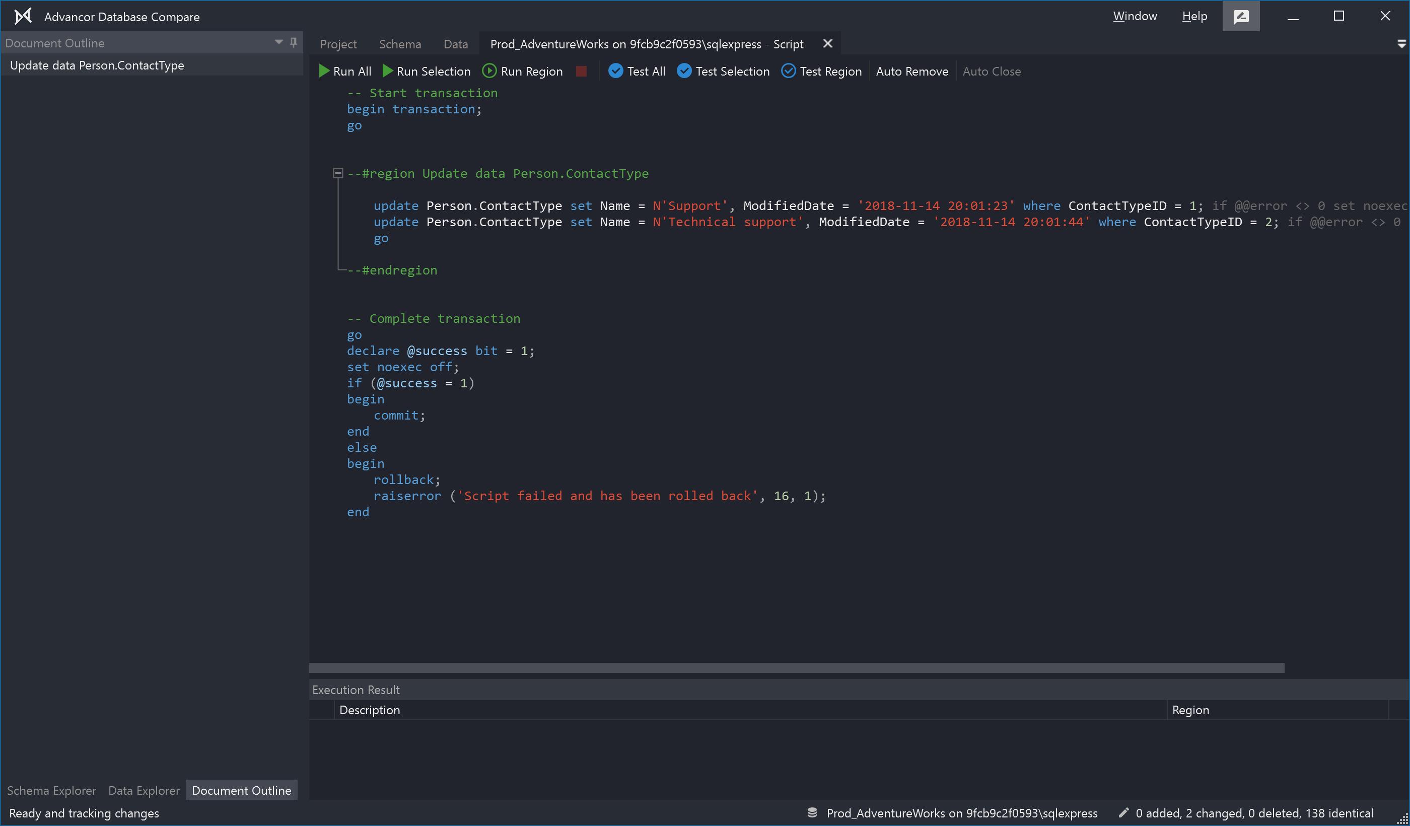 Script data changes
